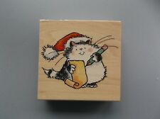 PENNY BLACK RUBBER STAMPS WISH LIST CAT NEW wood STAMP