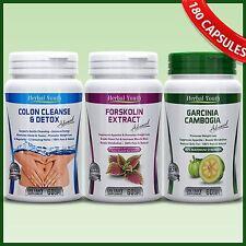 180 CAPSULES GARCINIA CAMBOGIA + FORSKOLIN + COLON CLEANSE DETOX DIET PILLS