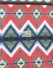 AZTEC INDIAN PRINTED FLEECE FABRIC - Tribal Diamonds Red - SOLD BTY (CRF) WARM