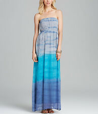*NEW* Red Haute $185 Sunset Silk Blue Print Tie-Dye Strapless Maxi Dress. Small