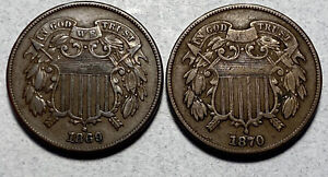 1869 and 1870 2C Two Cent Pieces
