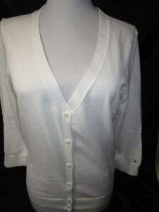 TOMMY HILFIGER womens white v-neck full front button 3/4 sleeves top new nwt