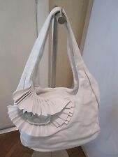 NWOT Amazing Renato Angi White Leather Double Handled Satchel/ Shoulder/Hobo Bag