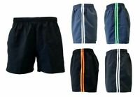 Mens Womens Casual Training Running Jogging Gym Sport Shorts w Stripes S-3XL