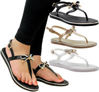 Ladies Womens Beach Summer Sliders Diamante Jelly Flip Flop Sandals Shoes Size