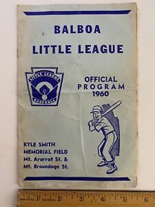 1960 BALBOA LITTLE LEAGUE Baseball Official Program San Diego