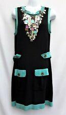 Nanette Lepore Knit Dress Size L Beaded Embellished Black Pockets Belt