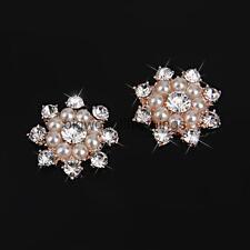 10 Pearl Crystal Rhinestone Flower Flatback Wedding Craft Embellishment DIY