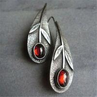 Vintage 925 Silver Ruby Ear Hook Dangle Drop Leaf Earrings Jewelry Creative Gift