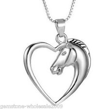 Women Silver Hollow Heart Charm Horse Head Pendant Jewelry Necklace Gift 52cm CD