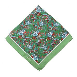 Kiton Green Red and Sky Blue Intricate Floral Print Silk Pocket Square