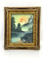 Vintage Forest River Mountain Moody Landscape Oil Painting Framed Ornate Frame
