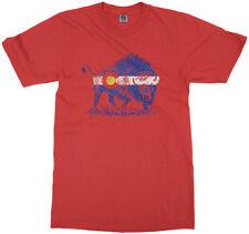 Buffalo Colorado Flag Youth T-Shirt Denver State Animal Pride