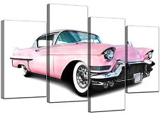 Extra Large Modern Retro Pink Car Canvas Wall Art 130cm Pictures 4040
