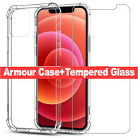 CLEAR Case For iPhone 12,12 Pro Max Full Cover TEMPERED GLASS SCREEN PROTECTOR