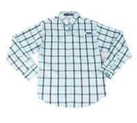 Columbia Mens Shirt Blue Large L PFG Super Tamiami Plaid Button Down $64 110