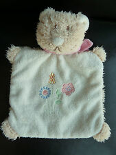 *- DOUDOU PLAT MARIONNETTE  BENGY OURS CHAT FOULARD ROSE BRODERIE FLEURS