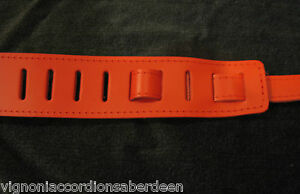 Deluxe Guitar Strap Red Leather Velvet padding Hand made in Italy NO LABELS