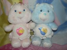 """13"""" VINTAGE PINK BABY HUGS BLUE TUGS CARE BEAR NAPPY GIRL 1980s GIFT PLUSH TOY"""