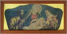 Antica icona cromolito capoletto Natività Sacra Famiglia Maria Giuseppe Gesù