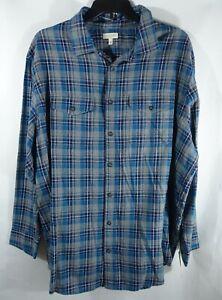 Men Big & Tall Flannel Shirt 2XB Chest Pockets Cotton Gray Plaid Western