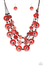 """""""Catalina Coasting"""" Red Wooden Bead Necklace Set By Paparazzi"""
