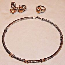 14K Gold & Sterling Silver Cable Necklace, Earrings & Ring Set by David Yurman