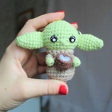 Baby yoda crochet Keychain, Yoda Baby Figurine, Baby Yoda Plush