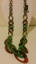 Gorgeous chunky Italian green and tortoise marbled long resin link necklace