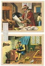 Gutenberg Invents Mechanical Movable Type Printing Two Vintage Trade Ad Card