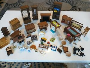 Vintage Miniature Dollhouse Wooden furniture lot