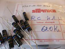 20 x Sfernice Kohleschicht Widerstand 620 kOhm 1W, Carbon Film Resistors