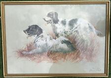 More details for large f/g print '2 english setter gun dogs'arthur spencer roberts artists proof