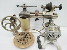 VTG ANTIQUE LOT G BOLEY WATCHMAKERS LATHE 8mm WITH ACCESSORIE & HAMILTON MOTOR