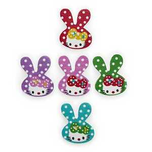 30pcs Rabbit Wood Buttons Sewing Scrapbooking Clothing Headwear Decor 32x26mm