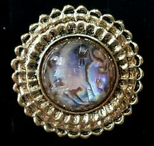 New fashion cocktail ring jewelry adjustable purple marbled stone gold-toned