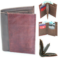 MENS SOFT LEATHER TRIFOLD WALLET 12 CREDIT CARD SLOTS AND COIN POCKET 2 COLOR