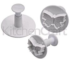 KITCHENCRAFT Set of 3 Butterfly Fondant/Icing Plunger Cutters. Cake Decorating.