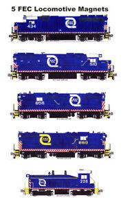 Florida East Coast Hurricane Logo Locomotives 5 magnets Andy Fletcher