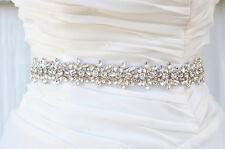Bridal Crystal, Pearl sash. Rhinestone Applique Wedding Belt vintage sash