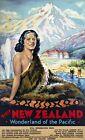 "Vintage Travel Poster CANVAS PRINT New Zealand Pacific Wonderland 8""X 10"""