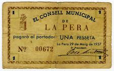 ☆ SPAIN CIVIL WAR 1937 • LA PERA 1 PTA MUNICIPAL ☆ GUERRA CIVIL ESPAÑOLA  ☆C5014