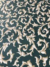Vintage Wallpaper Double Roll Green Beige Fleur de Lis Royal Stuart Prepasted