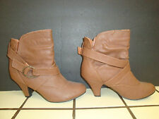 Charlotte Russe Women's Short Ankle Boots Heels Buckle Brown Size 10 Pre-Owned