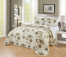 Oversize Tropical Palm Tree Quilt Reversible Bedspread King Size Coverlet Set