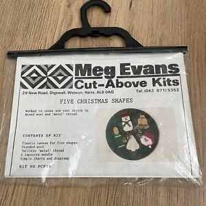 VTG 90s MEG EVANS XMAS Cross Tent Stitch Kit Plastic Pattern Thread USED READ