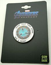 Marvel Comics Iron Man Arc Reactor Heart Glow In Dark Collectors Pin New MOC