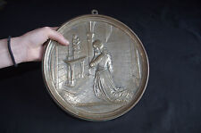 old French bronze plaque Jeanne of Arc d' la pucelle prying 1900 not medal