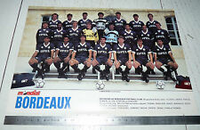 CLIPPING POSTER FOOTBALL 1988-1989 GIRONDINS BORDEAUX PARC-LESCURE