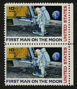 US 1969 #C76 - 10c First Man On The Moon Air Mail Pair (2) Mint NH MNH XF